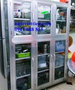 các mẫu tủ bếp nhôm kính